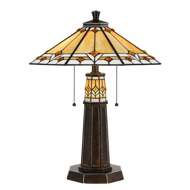 CAL Lighting BO-2670TB Tiffany 60W x 2 Tiffany Table Lamp
