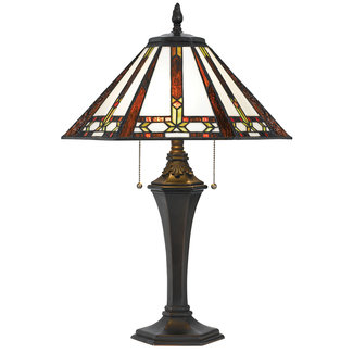 CAL Lighting BO-2717TB 60W X 2 Tiffany Table Lamp