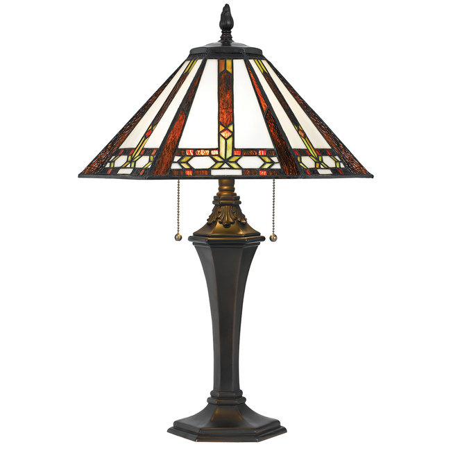CAL Lighting BO-2717TB 60W X 2 Tiffany Table Lamp