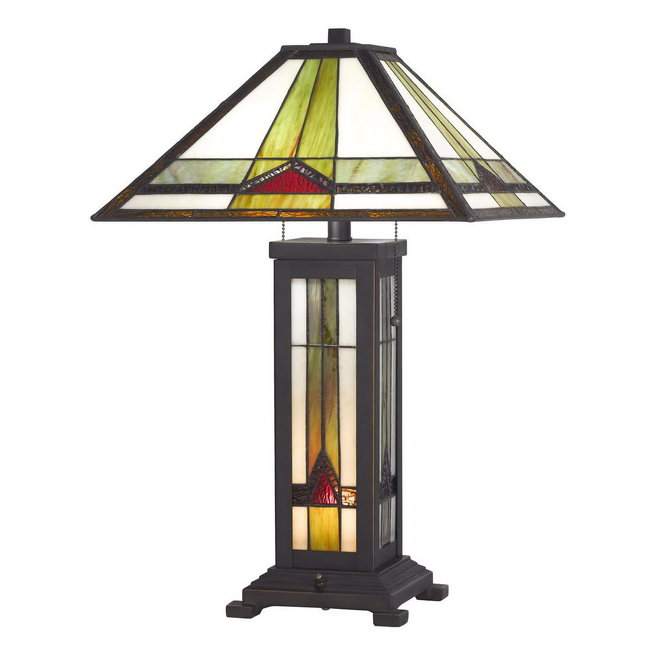 CAL Lighting BO-2795TB 60w X 2 Tiffany Table Lamp with 7w Night Light, Multicolor