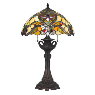 CAL Lighting BO-2796TB 60W X 2 Tiffany Table Lamp