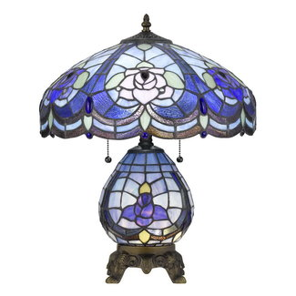 CAL Lighting BO-2799TB 60w X 2 Tiffany Table Lamp With 7w Night Light