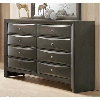 Crown Mark Emily B4270-1 DRESSER 8 DRAWERS GREY