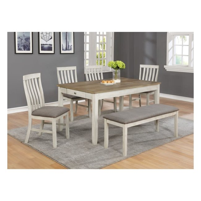 Crown Mark Nina   Dining Set With Bench 2217T-3660+4xS+BENCH