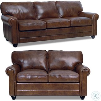 Luke Leather Andrew Italian Leather Living Room Set--Havana Sofa & Loveseat