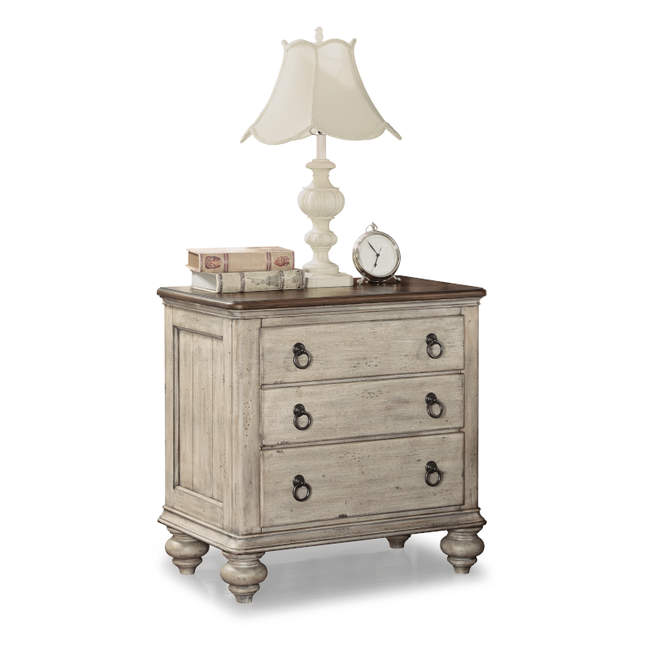 Flexsteel Plymouth Relaxed Vintage Nightstand with Built-In Outlets