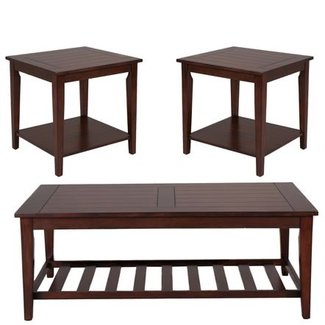 Liberty Furniture Missoula Collection 133-OT3000 3-Piece Living Room Table Set with Cocktail Table and 2 End Tables in Spiced Rum