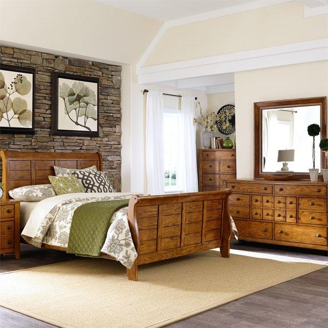 Liberty Furniture Grandpas Cabin Queen Sleigh Bed, Dresser & Mirror, Chest (175-BR-QSLDMC)