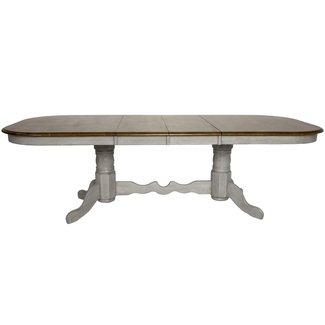 Sunset Trading DLU-CG4296-GO   Double Pedestal Extendable Dining Table   Distressed Gray and Brown Wood