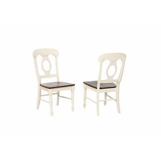 Sunset Trading DLU-ADW-C50-AW-2   Napoleon Dining Chair   Antique White and Chestnut   Set of 2