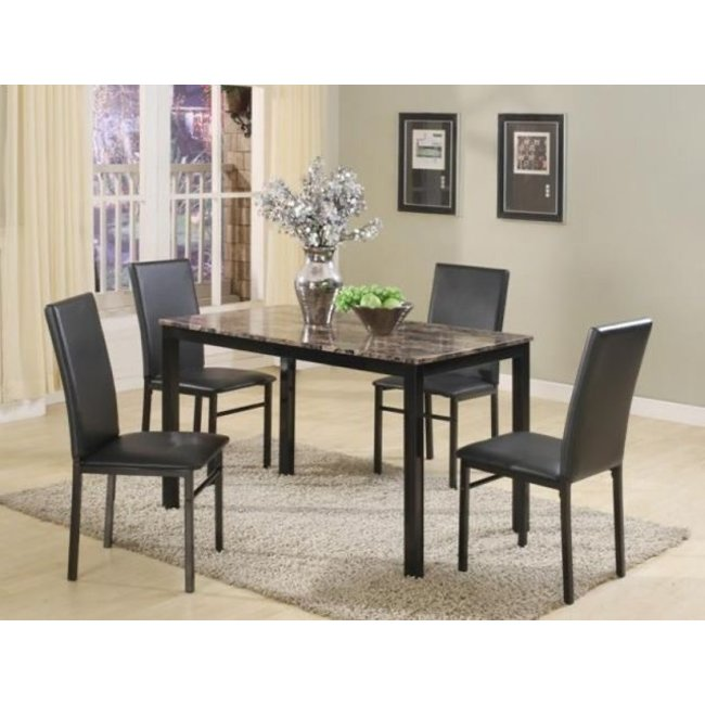 Crown Mark Aiden 5 Pack Marble Table Top Dinette Set-1217SET