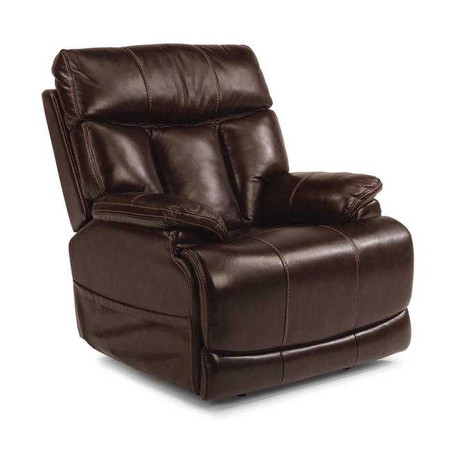 Clive Brown Leather Power Recliner with Power Headrest-1595-50PH 375-70