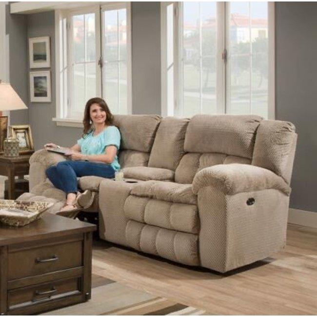 Lane® Home Furnishings Madeline Power Double Motion Loveseat In Sandstone