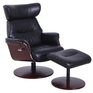 Mac Motion Stockholm Recliner and Ottoman in Black Breathable Air Leather