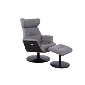 Mac Motion Stockholm Recliner and Ottoman in Steel (Grey) Air Leather