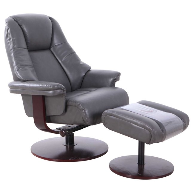 Mac Motion Lund Recliner and Ottoman in Charcoal Air Leather