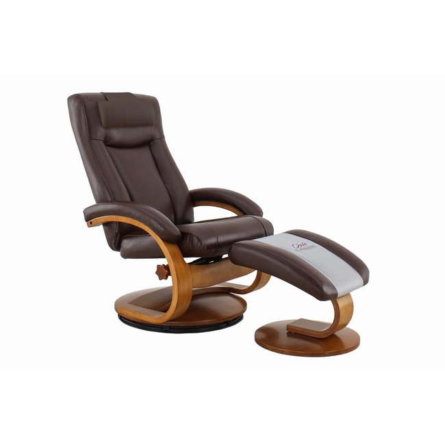 Mac Motion Hamar Recliner and Ottoman with Cervical Pillow in Whisky Breathable Air Leather