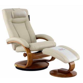 Mac Motion Hamar Recliner and Ottoman with Cervical Pillow in Beige Breathable Air Leather