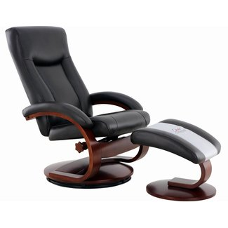 Mac Motion Hamar Recliner and Ottoman in Black Top Grain Leather