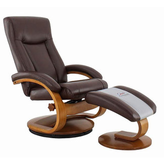 Mac Motion Hamar Recliner and Ottoman in Whisky Breathable Air Leather