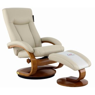 Mac Motion Hamar Recliner and Ottoman in Beige Breathable Air Leather