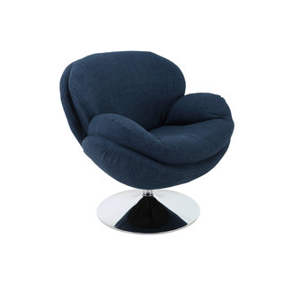 Mac Motion Scoop Leisure Accent Chair in Denim Fabric