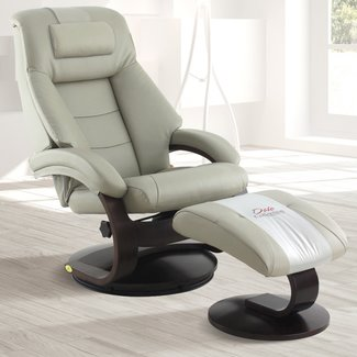 Mac Motion Mandal Recliner and Ottoman with Cervical Pillow in Putty Top Grain Leather