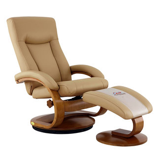 Mac Motion Hamar Recliner and Ottoman with Cervical Pillow in Black Top Grain Leather