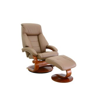 Mac Motion Mandal Recliner and Ottoman in Putty Top Grain Leather