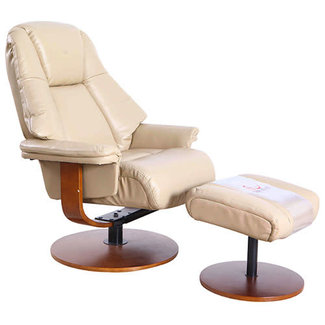 Mac Motion Lund Recliner and Ottoman in Cobblestone Air Leather
