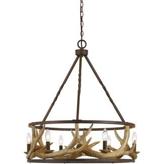 CAL Lighting 6 Antler 6 Light 26 inch Rust Chandelier Ceiling Ligh