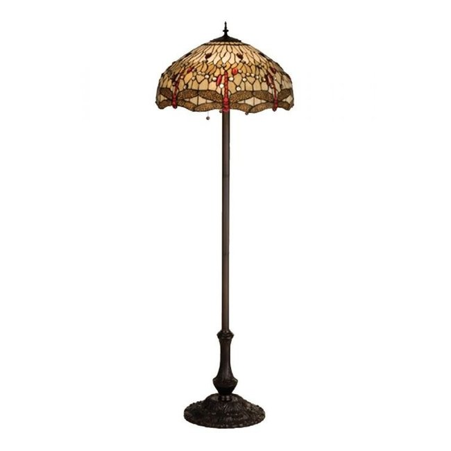 "Meyda Lighting 63""H Tiffany Hanginghead Dragonfly Floor Lamp"