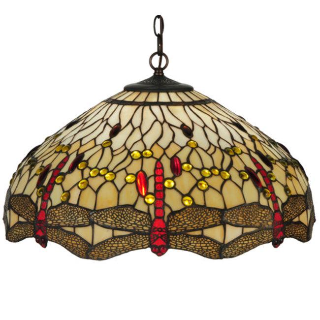 "Meyda Lighting 22""W Tiffany Hanginghead Dragonfly Pendant"