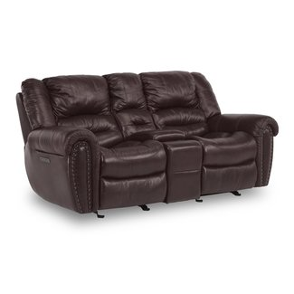 Flexsteel Town Power Reclining Loveseat with Console and Power Headrests 1010-64PH
