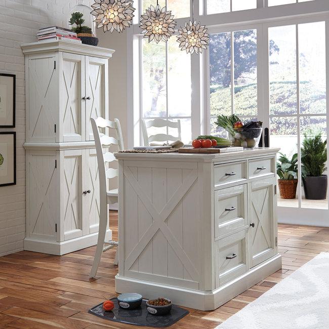 homestyles® Seaside Lodge Off-White Kitchen Island Set - 5523-948