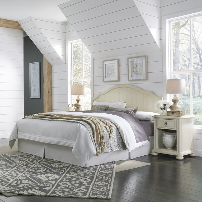 homestyles® Provence Off-White King Headboard and Two Nightstands - 5502-6015
