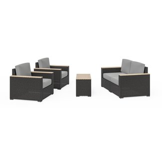 homestyles® Boca Raton Brown Outdoor Loveseat, Arm Chair Pair and Two Side Tables - 6801-11D6-TD