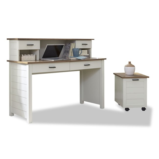 homestyles® Portsmouth Off-White Writing Desk, Hutch and Filing Cabinet - 5186-1523
