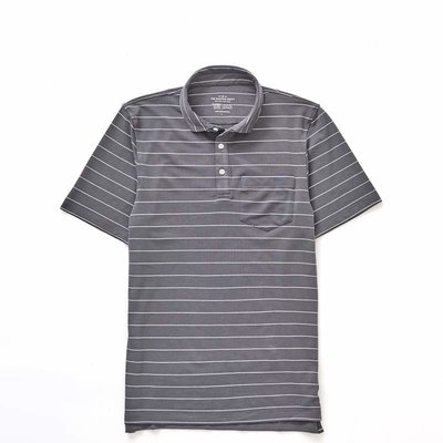 The Sporting Gent TSG Barrier Striped Polo - Graphite w/ White