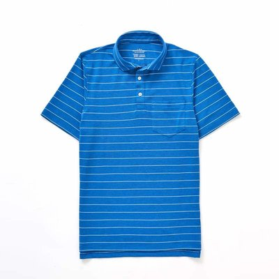 The Sporting Gent TSG Barrier Striped Polo - Royal w/ White