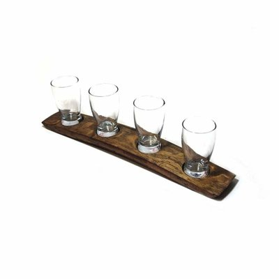 Faire Bourbon Barrel Wood 4 Glass Beer Flight
