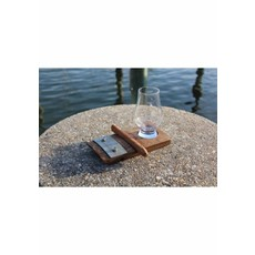 Faire Bourbon Barrel Wood Coaster with Cigar Holder