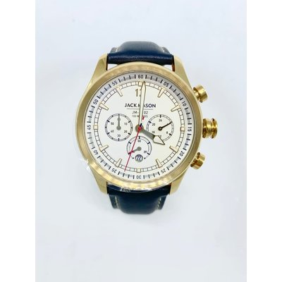 Jack Mason Jack Mason Nautical Chronograph Watch 42mm - White Dial w/ Navy Leather Strap