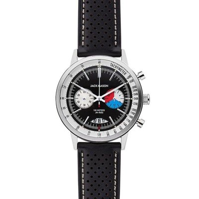 Jack Mason Jack Mason Racing Chronograph Watch 40mm (Black Dial w/ Black Perf Leather Strap)