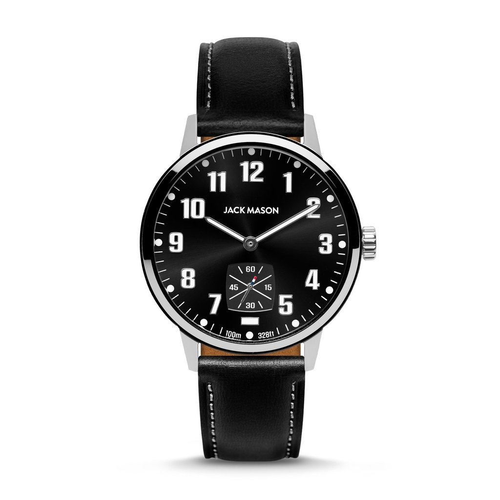 Jack Mason Jack Mason Overland 42 Watch (Black Dial w/ Black Leather)