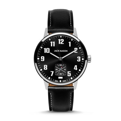 Jack Mason Jack Mason Overland 42 Watch - Black Dial w/ Black Leather