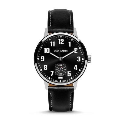 Jack Mason Jack Mason Overland 42 Watch (Black Dial w/ Black Leather)