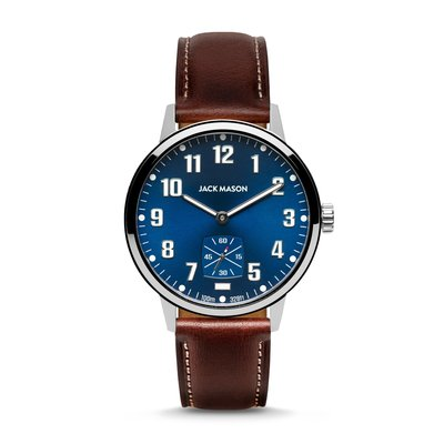 Jack Mason Jack Mason Overland 42 Watch - Navy Dial w/ Brown Leather