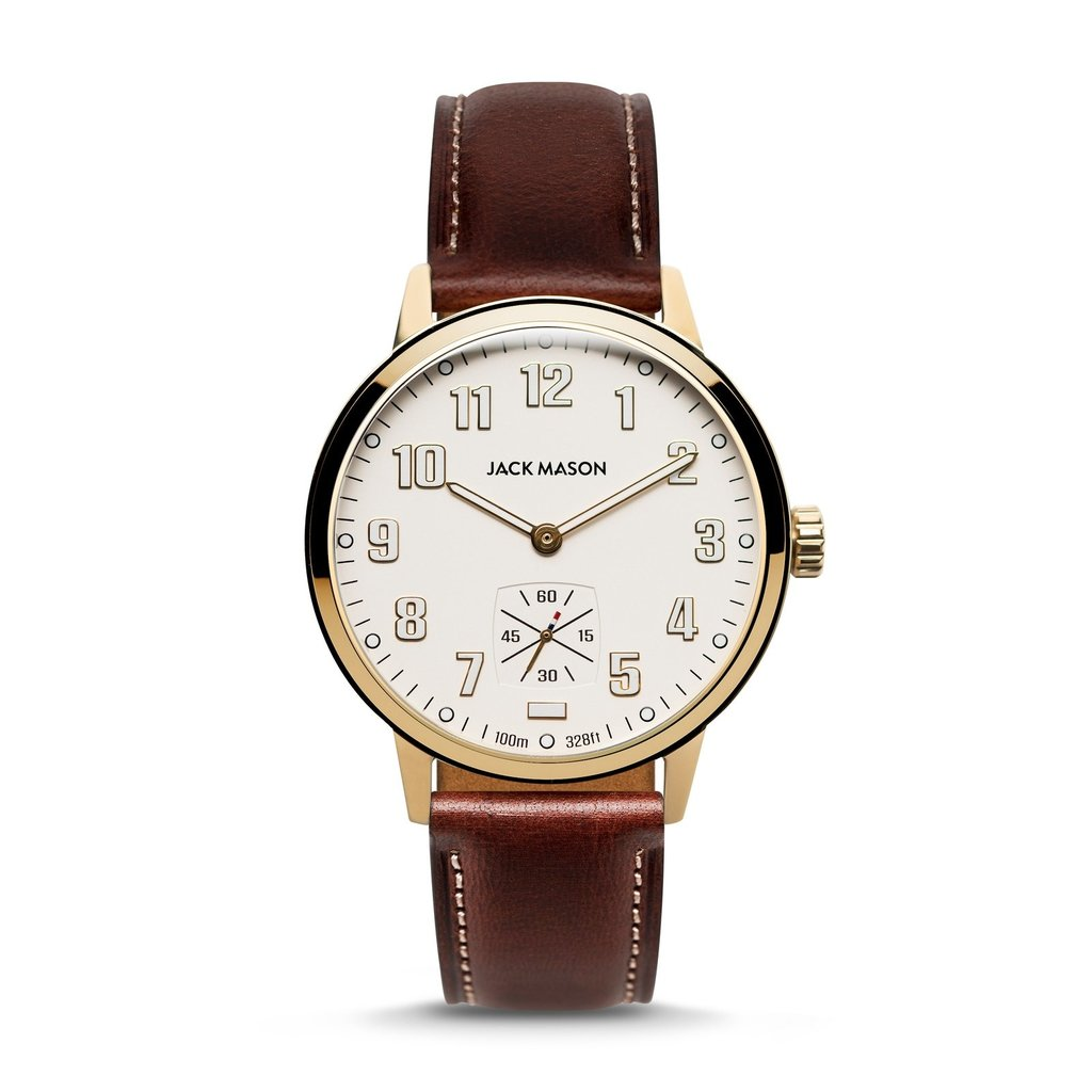 Jack Mason Jack Mason Overland 42 Watch - White Dial w/ Brown Leather