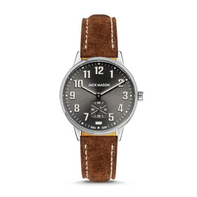 Jack Mason Jack Mason Field 38mm Watch - Charcoal Dial w/ Brown Suede